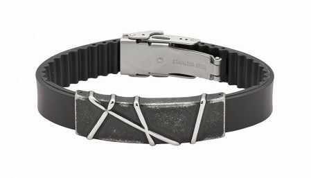 Bransoletka magnetyczna ze stali nierdzewnej na kauczukowym skórzanym pasku 3538-1