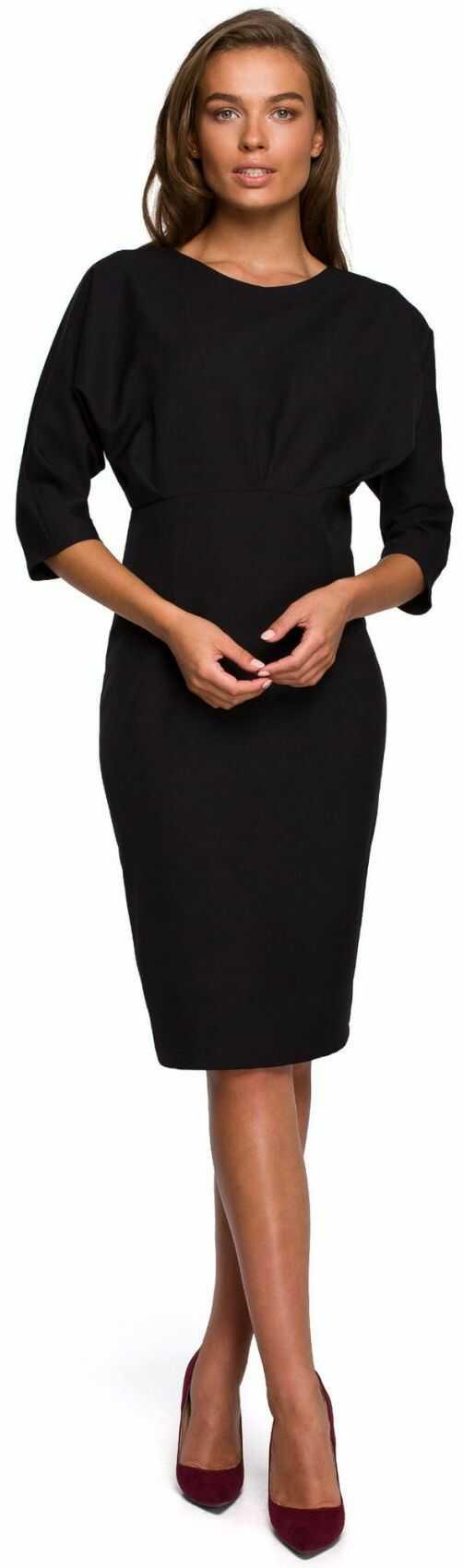 S242 Sukienka z zaszewkami i kimonowymi rękawami - czarna