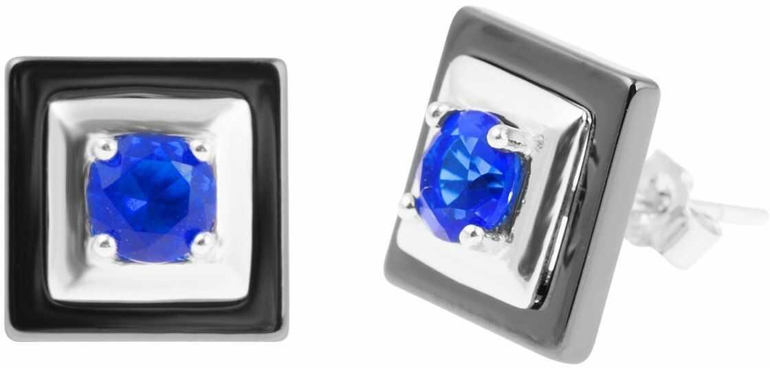 Srebrne kolczyki pr.925 czarne kwadraty z niebieskim oczkiem PREZENT