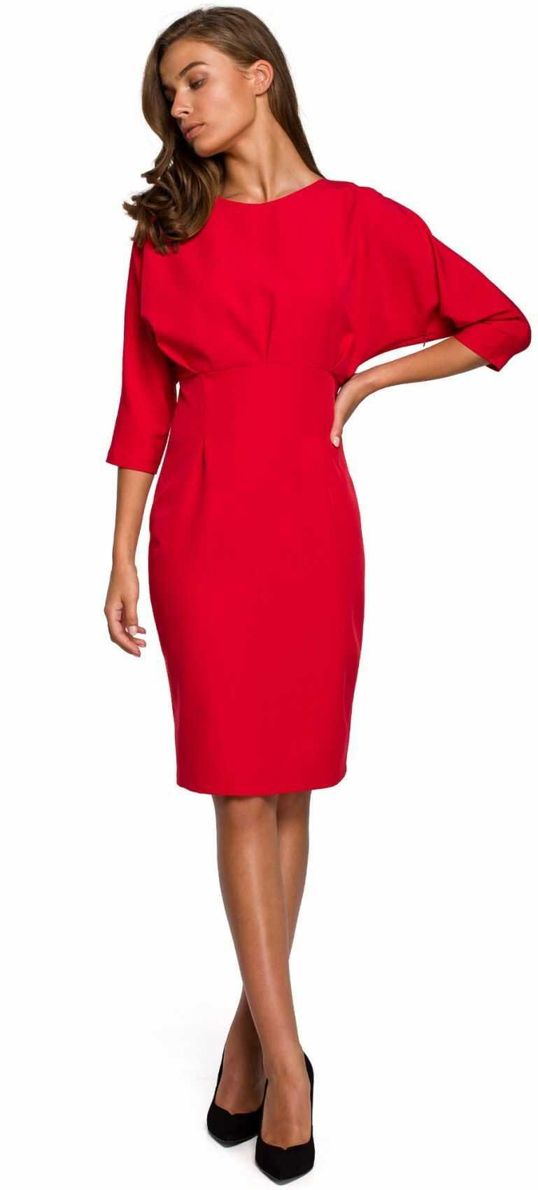 S242 Sukienka z zaszewkami i kimonowymi rękawami - czerwona