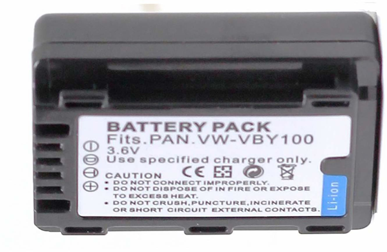 Amsahr Digital Replacement Battery for Panasonic VW-VBY100, HC-V201,HC-V110,HC-V110GK, HC-V110K, HC-V110P