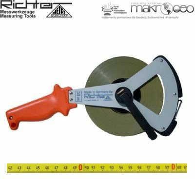 Taśma ruletka Richter stalowa lakierowana pokryta poliamidem 404 V/50m