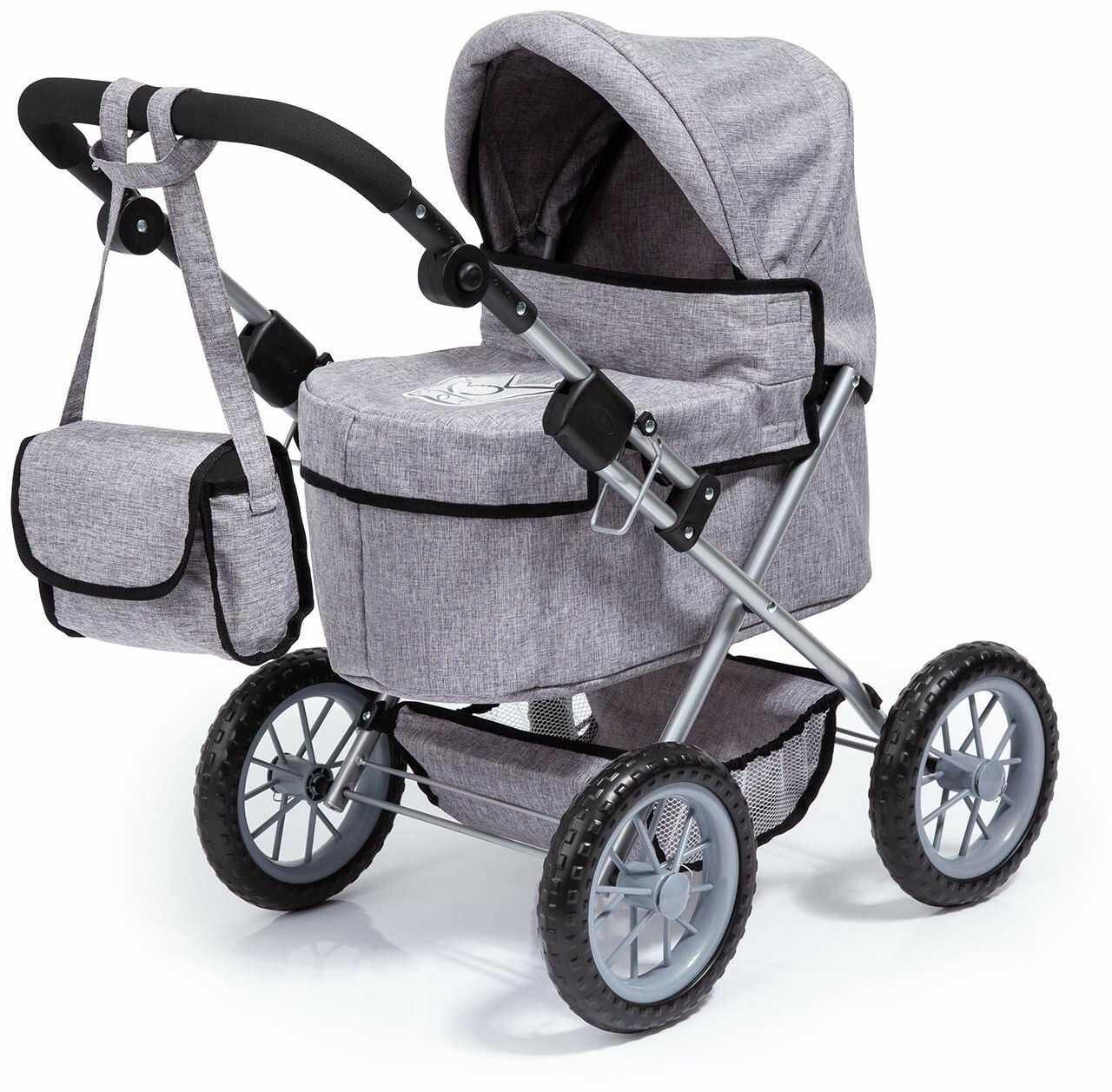 Bayer Design 13010AA wózek dla lalek modna z torbą na ramię, koszyk na zakupy, składany, szary z koroną