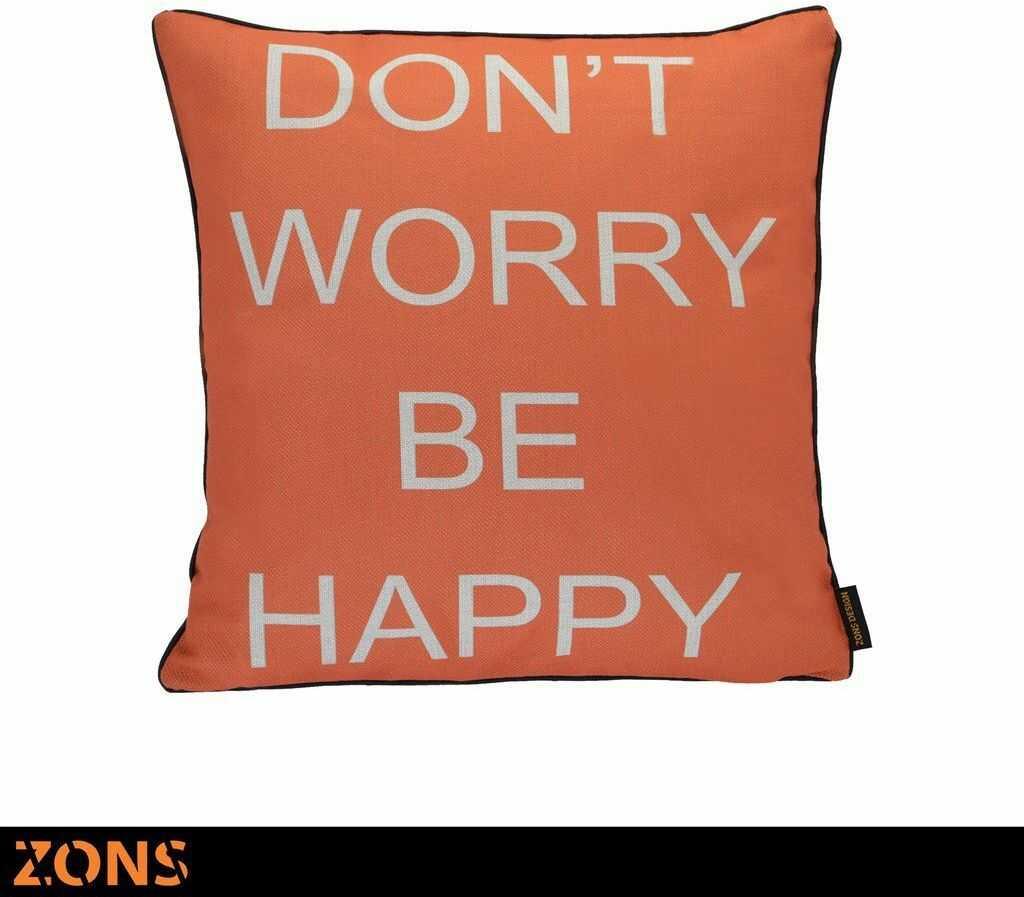 Napis Poduszka pomarańczowa 6 wzorów 45 x 45 cm + wypełnienie 450 g (happy)
