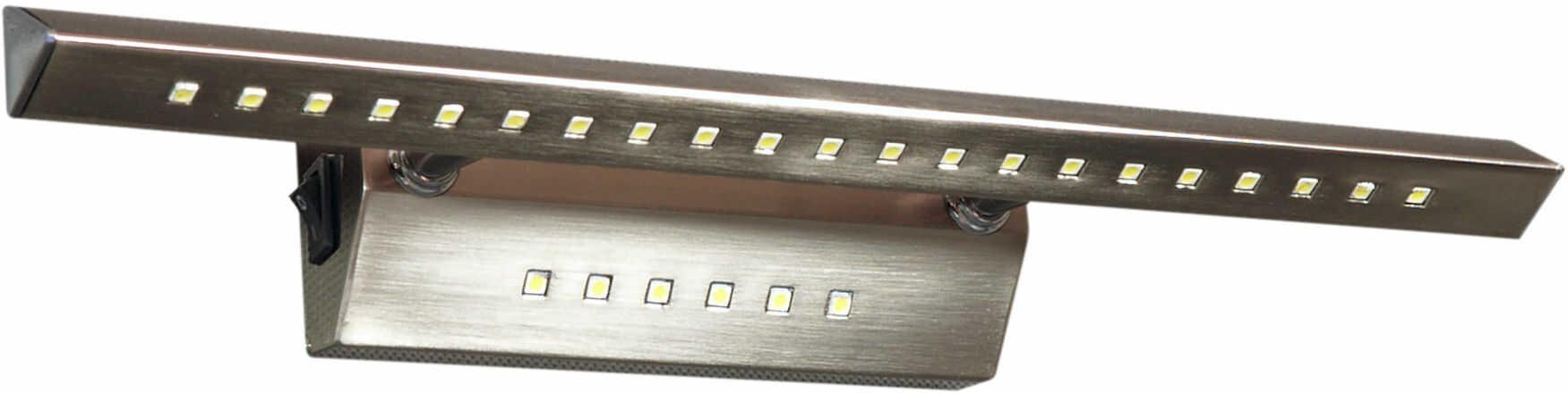 Candellux FORTE LED 3 20-27023 kinkiet lampa ścienna satyna nikiel rurka trójkątna z wyłącznikiem LAMPA KINKIET 7W LED 40,5cm