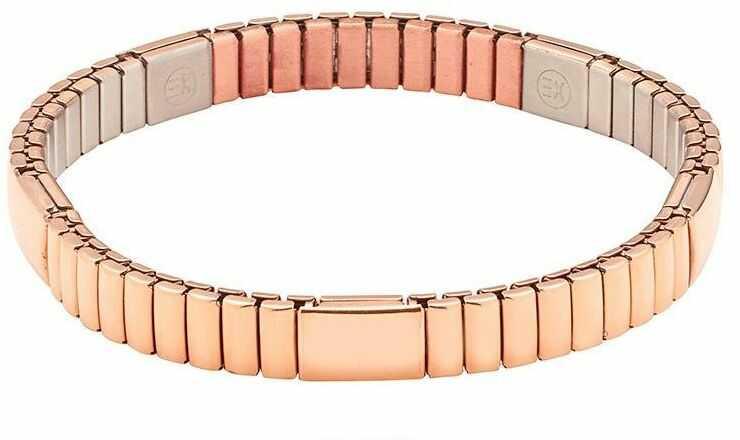 Bransoletka magnetyczna 6000 gaussów / 0,6 tesli różowe złoto 3623-1 elastyczna ze stali chirurgicznej i miedzią