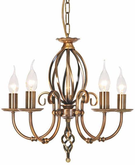 Żyrandol Artisan ART5 AB Elstead Lighting klasyczna oprawa w kolorze antycznego mosiądzu