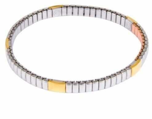 Bransoletka magnetyczna 6000 gaussów stal nierdzewna 1359 z pozłacanymi ogniwami