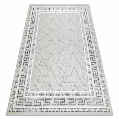 Dywan GLOSS nowoczesny 2813 57 stylowy, ramka, grecki kość słoniowa / szary 80x150 cm