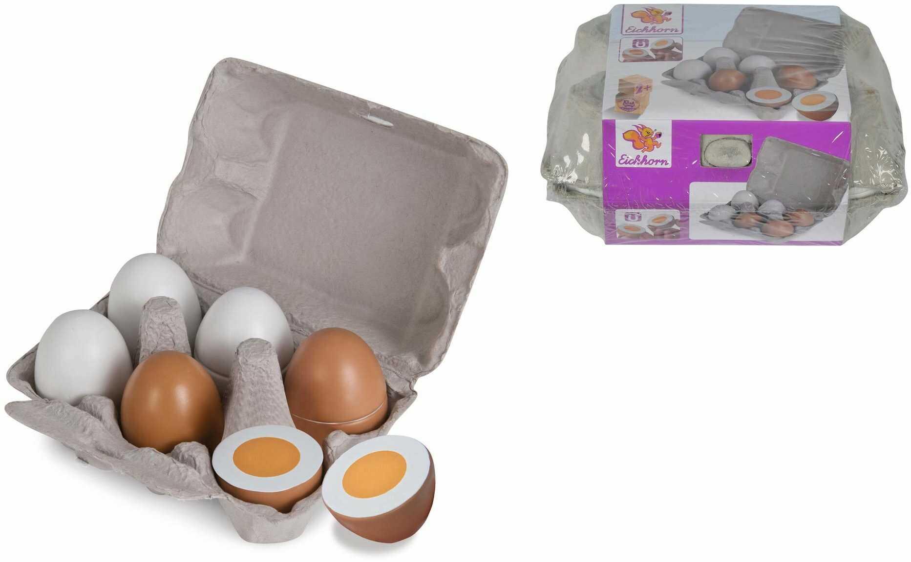 Eichhorn 100003737 - pudełko na jajka z 6 jajkami, 3 x z funkcją magnetyczną, 10,5 x 16 x 7 cm, akcesoria do sklepu, drewno brzozowe