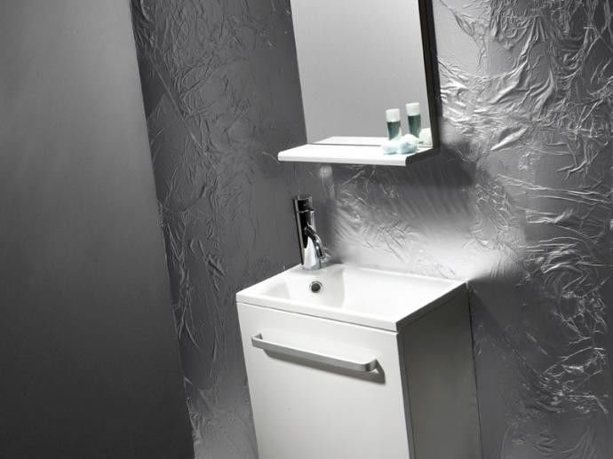Niza Bathco zestaw umywalka 440x250x470 szafka lustro biały - 9901BL