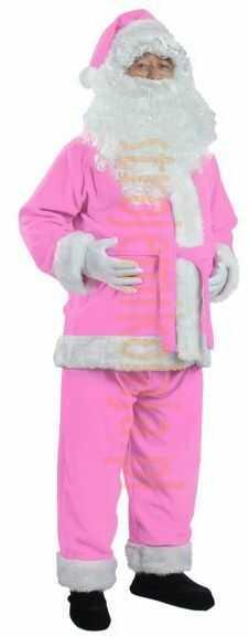 Jasnoróżowy strój Mikołaja - kurtka, spodnie i czapka