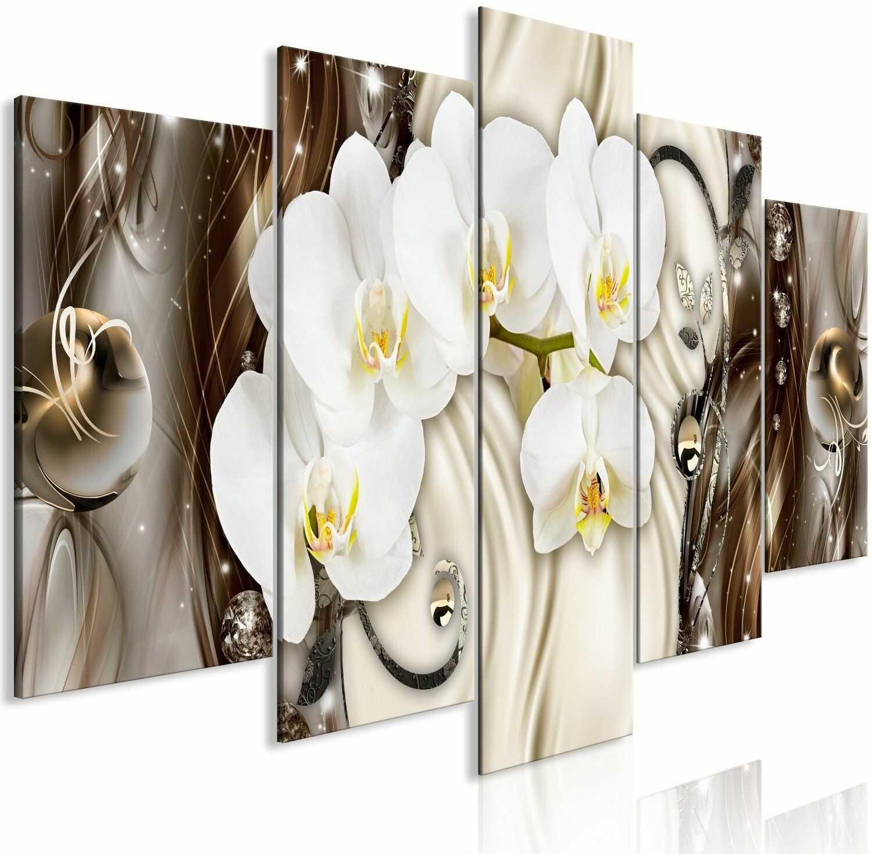 Obraz - wodospad orchidei (5-częściowy) szeroki brązowy