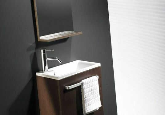 Niza Bathco zestaw umywalka 440x250x470 szafka lustro wenge - 9901WN Darmowa dostawa