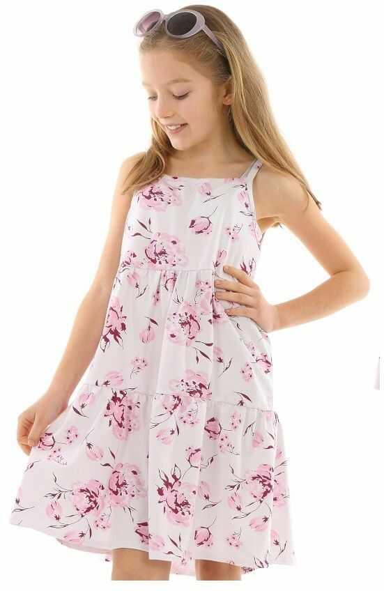 Sukienka na lato w kwiaty 116-158 KRP335 biel plus róż