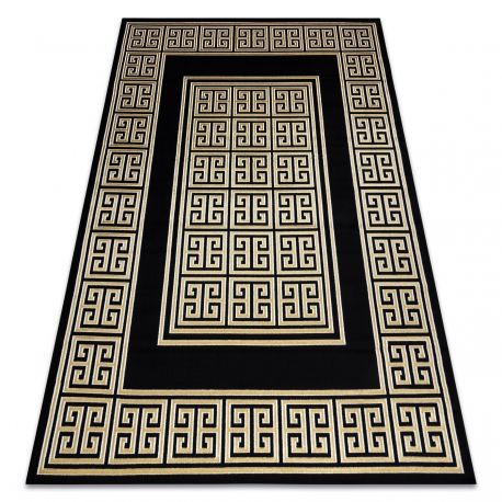 Dywan GLOSS nowoczesny 6776 86 stylowy, ramka, grecki klucz czarny / złoty 80x150 cm