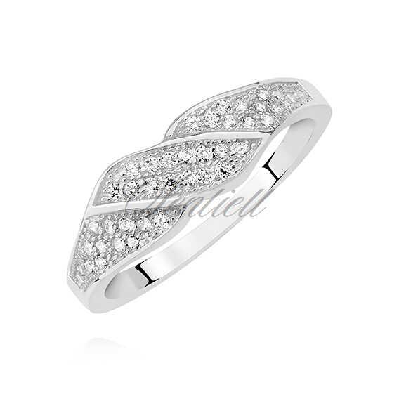 Srebrny pierścionek obrączka pr.925 z białą cyrkonią