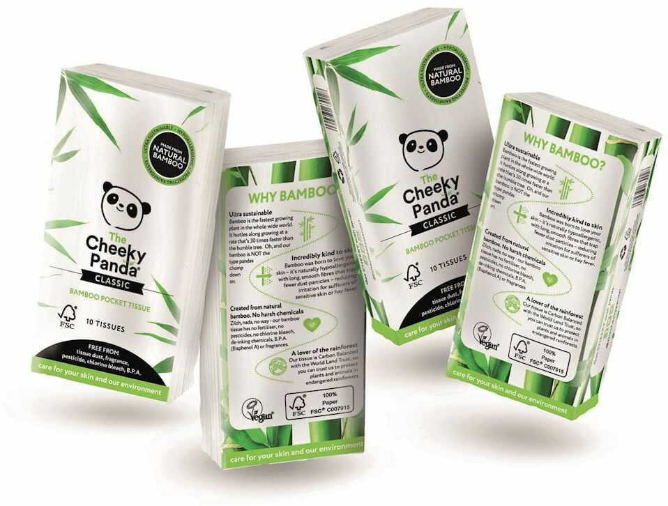 Chusteczki bambusowe trzywarstwowe kieszonkowe 8 x 10 szt - cheeky panda