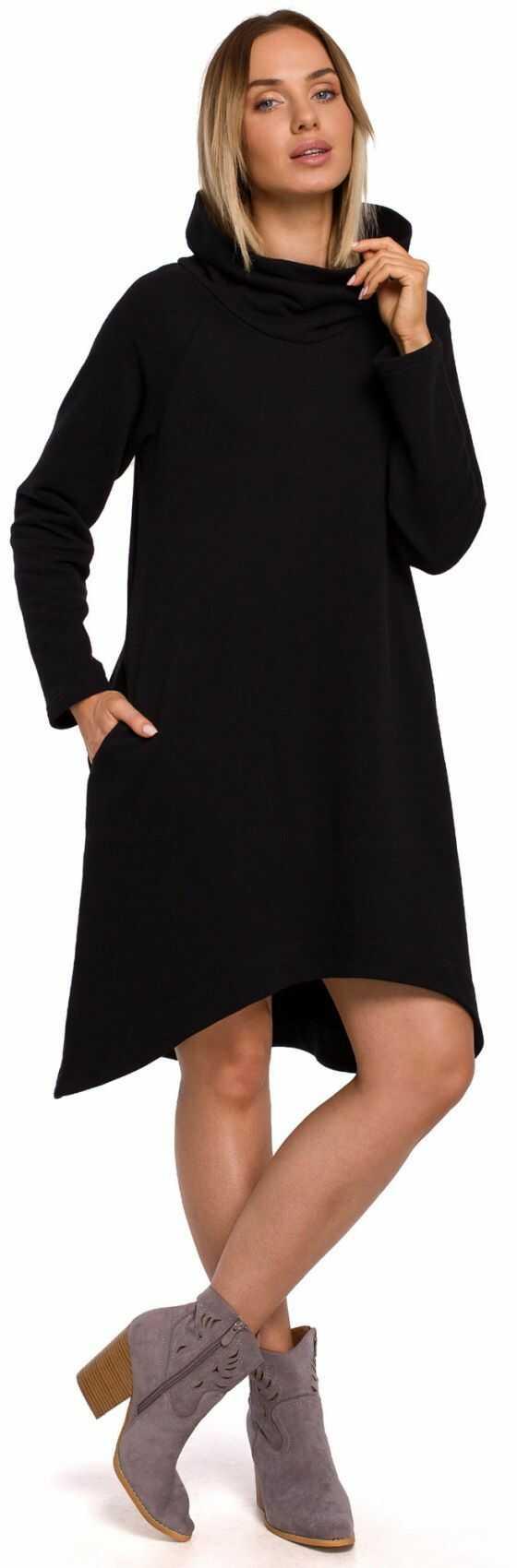 M551 Sukienka z asymetrycznym dołem - czarna