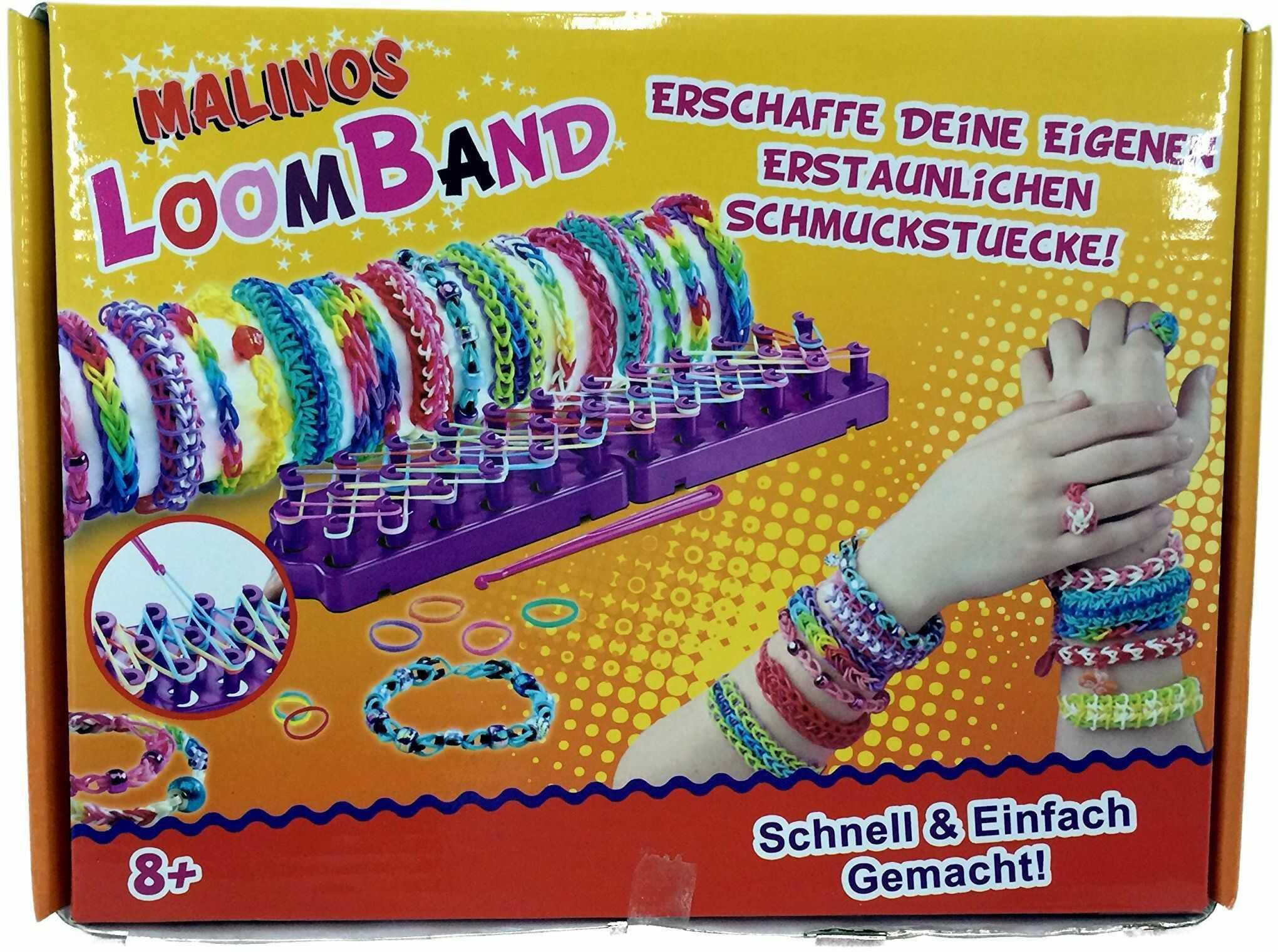 Malinos 302001 302001-Loom 1200 24 Loom Bands zestaw startowy Loom/1200 taśma/24 klipsy/igła