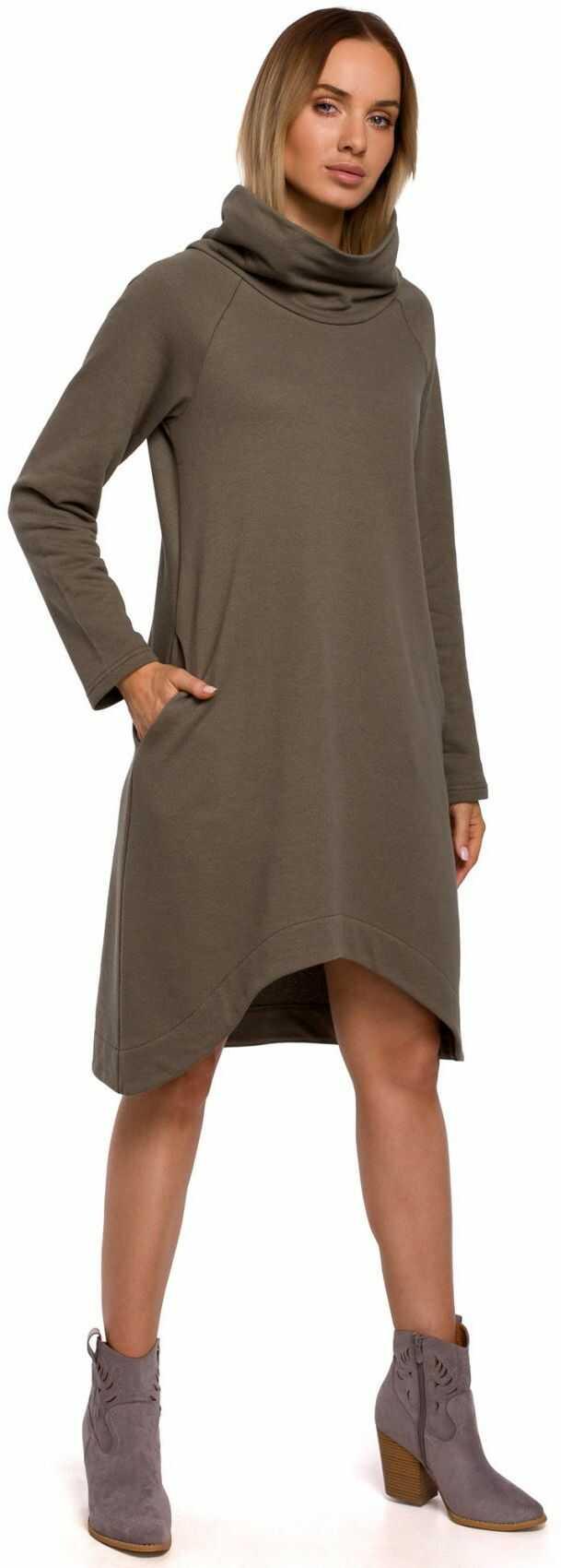 M551 Sukienka z asymetrycznym dołem - khaki