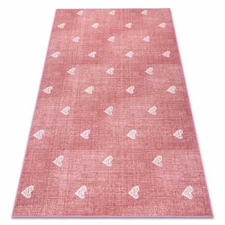 Dywan dla dzieci HEARTS Jeans, przecierany serca, serduszka, dziecięca - różowy 100x150 cm