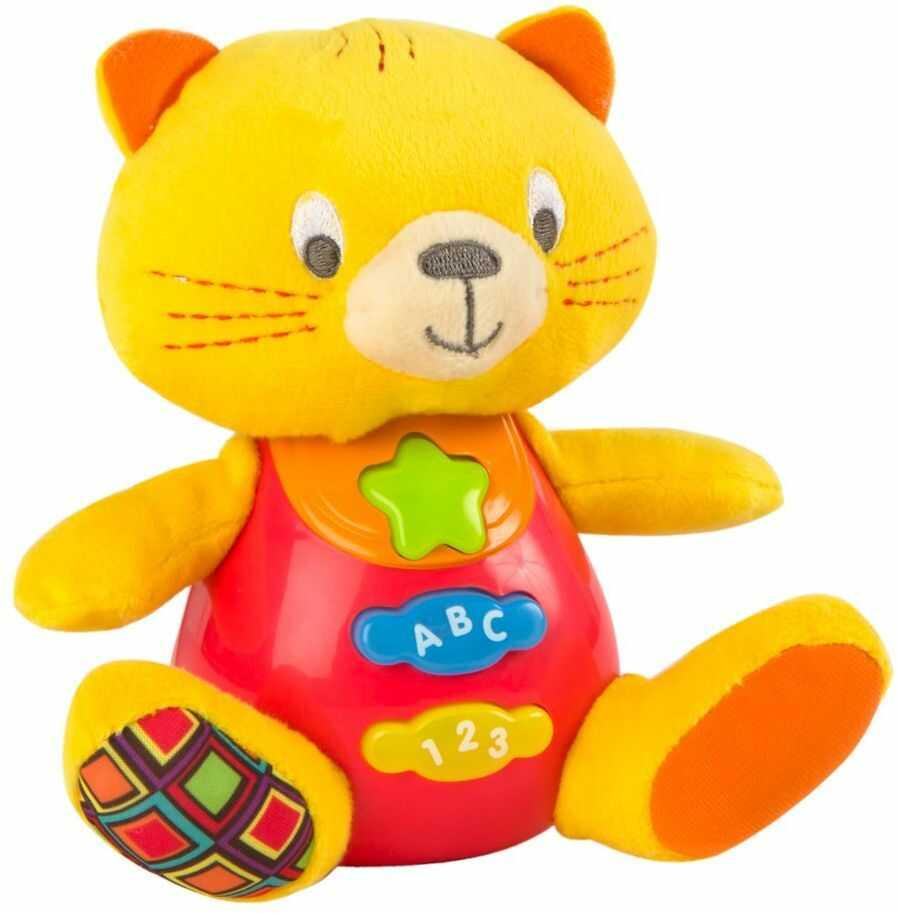 Winfun ColorBaby 85178 Talking Pluszowa zabawka dla niemowląt, kolorowe światła, język: Hiszpański kotek