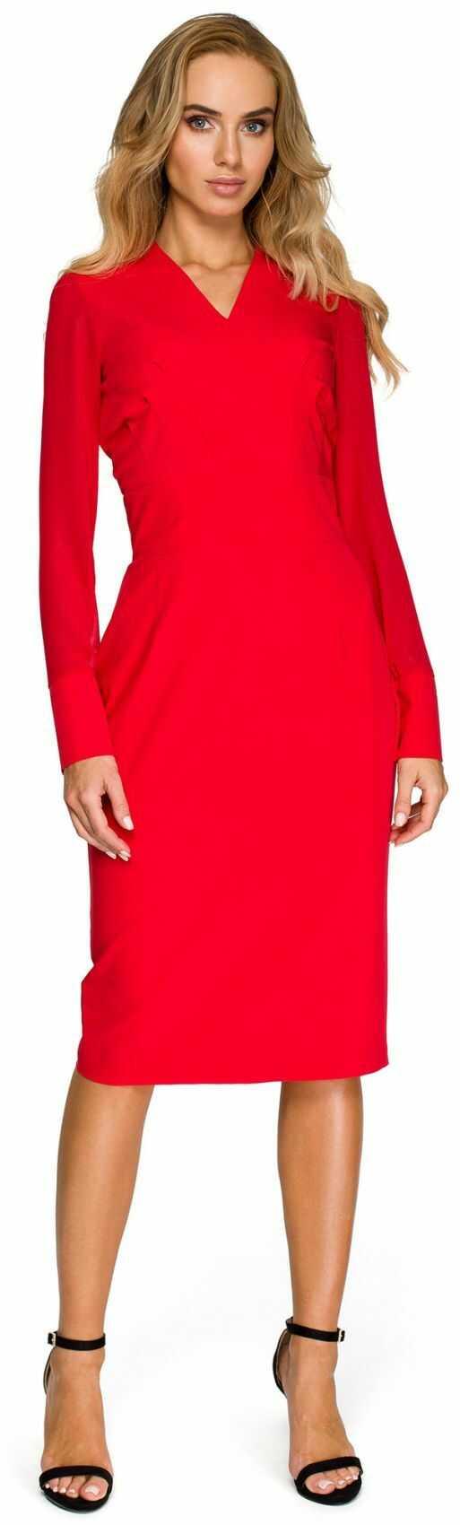 S136 Sukienka ołówkowa - czerwona