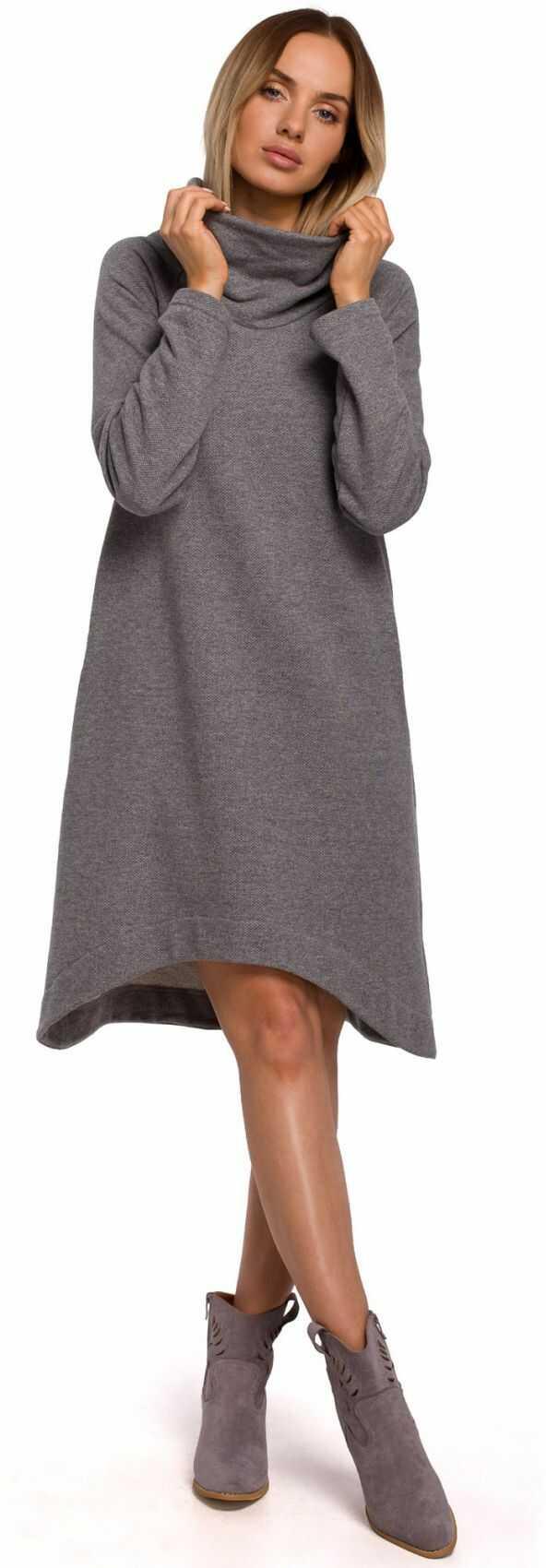 M551 Sukienka z asymetrycznym dołem - szara