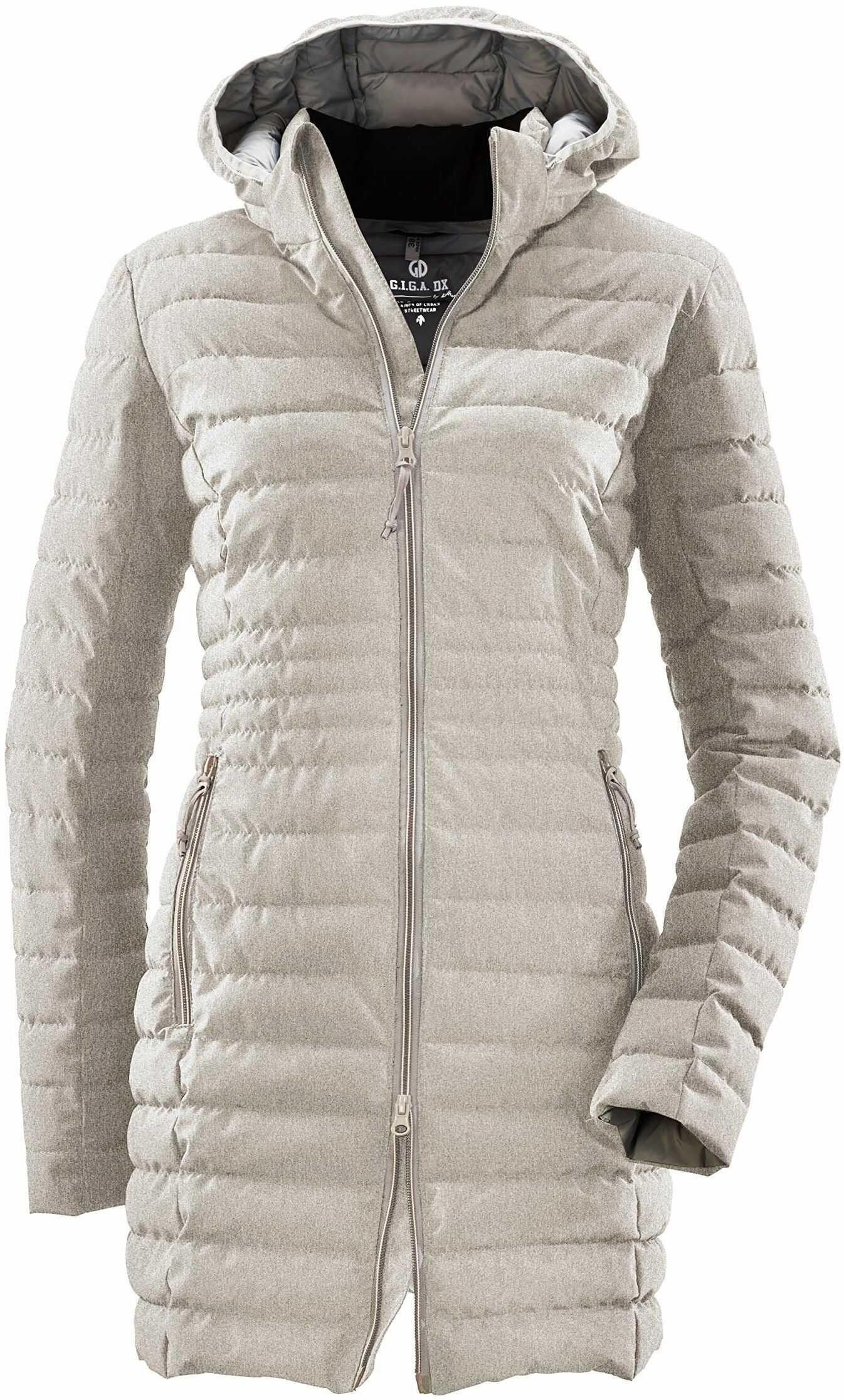 G.I.G.A. DX Bacarya damski płaszcz pikowany  parka funkcyjna z kapturem  długa kurtka pikowana  płaszcz przejściowy o wyglądzie puchu jasnoszary 40
