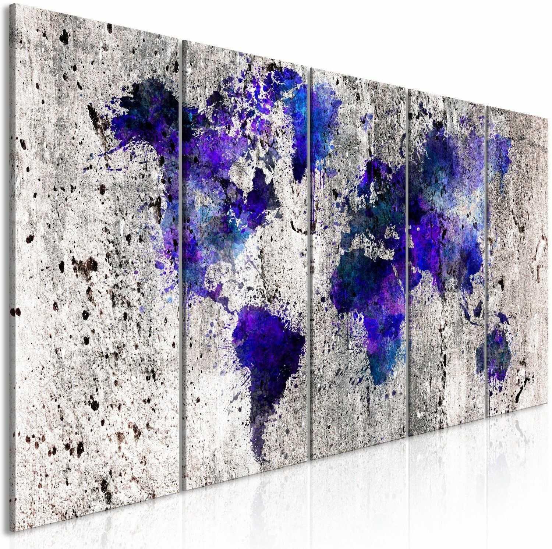 Obraz - mapa świata: kleksy (5-częściowy) wąski
