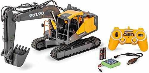 Carson 500907339 koparka gąsienicowa Volvo 1:16 - zdalnie sterowany pojazd budowlany dla dzieci od 8 lat, koparka RC z funkcjami, w zestawie baterie i pilot zdalnego sterowania, żółty