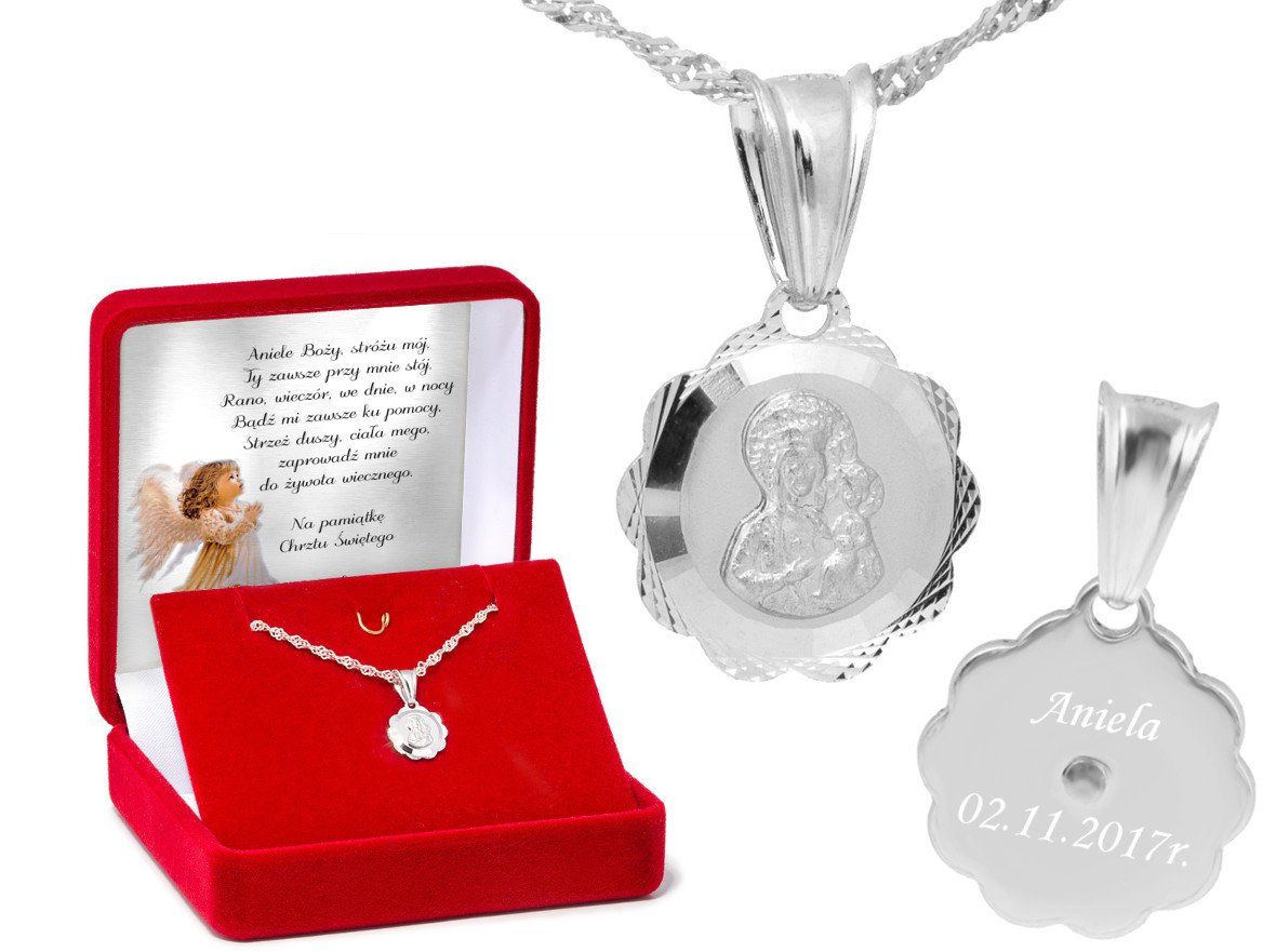 Srebrny Medalik Matka Boska Częstochowska Z Grawerem