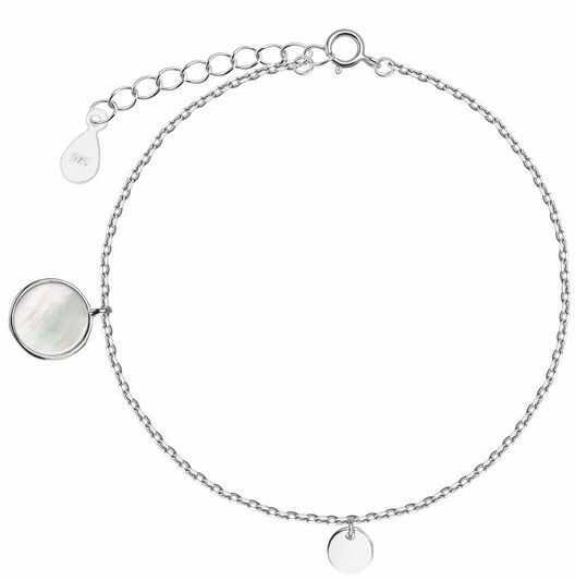 Staviori bransoletka z kółkiem 19cm. masa perłowa. srebro rodowane 0,925.