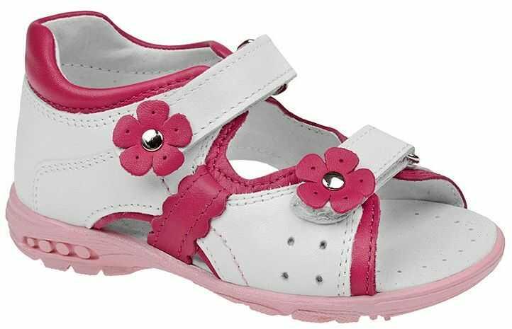 Sandałki dla dziewczynki KORNECKI 3718 Białe Różowe Sandały