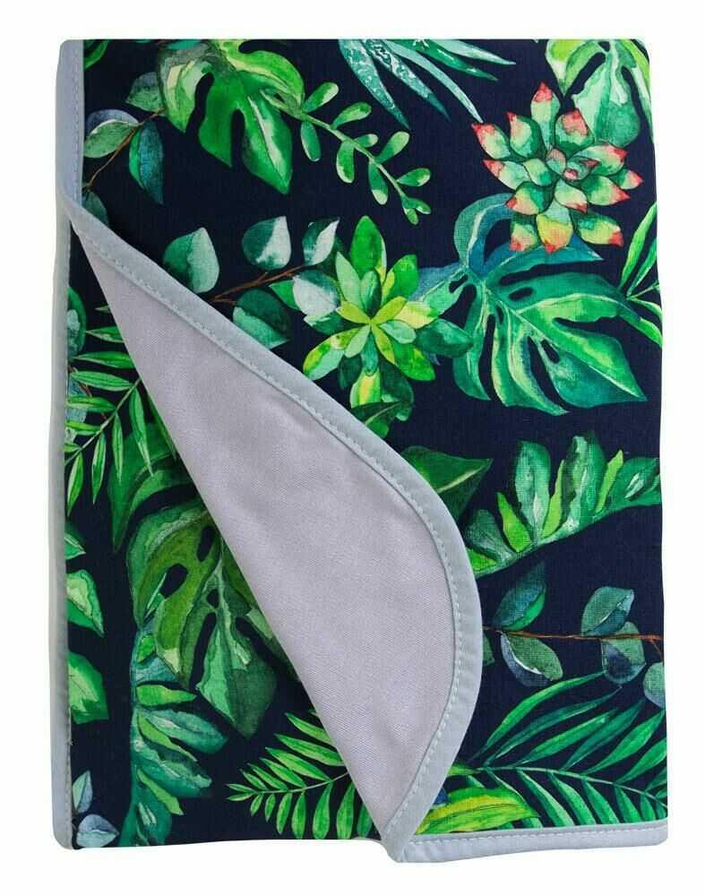 Kocyk bambusowy 75x100 Bamboo liście monstery zielony szary dwustronny 08 0783 dziecięcy