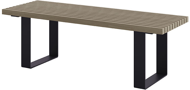 Antracytowa ławka parkowa bez oparcia 180 cm - Erika 3X