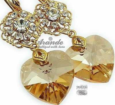 NOWE SWAROVSKI piękne kolczyki GOLD HEART FEEL