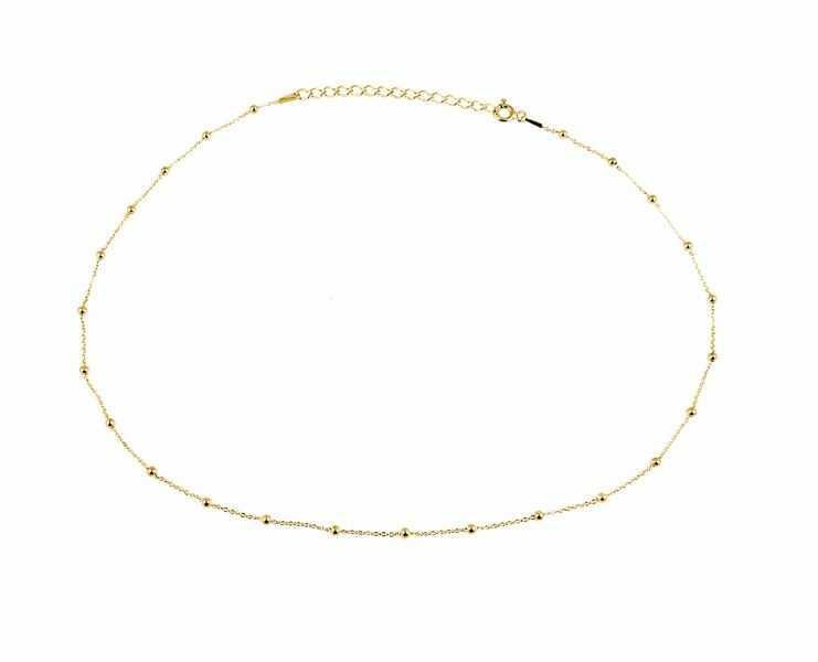 Pozłacany srebrny naszyjnik gwiazd celebrytka choker gładkie kulki kuleczki srebro 925 FZ025P2_NG