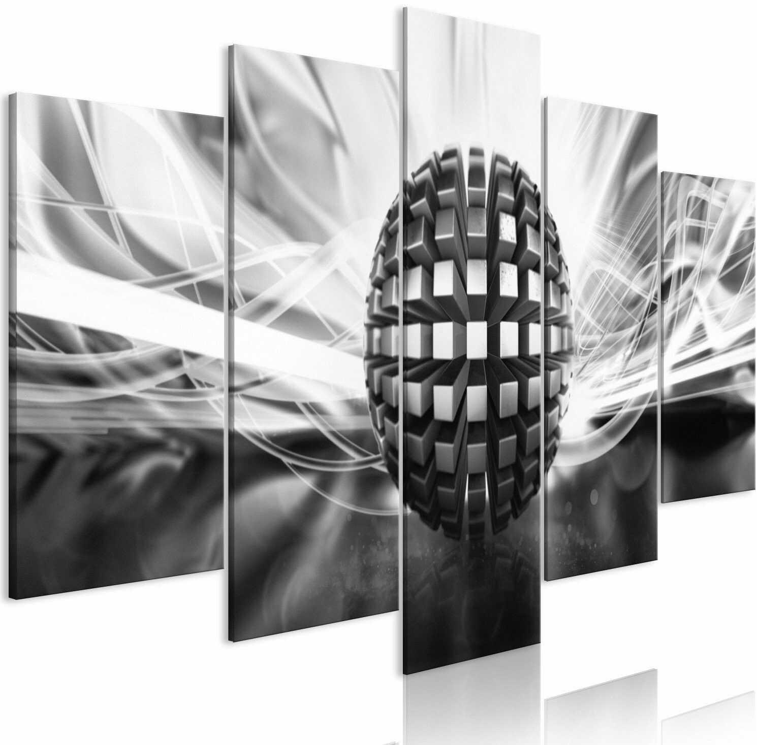 Obraz - metalowa kula (5-częściowy) szeroki czarno-biały