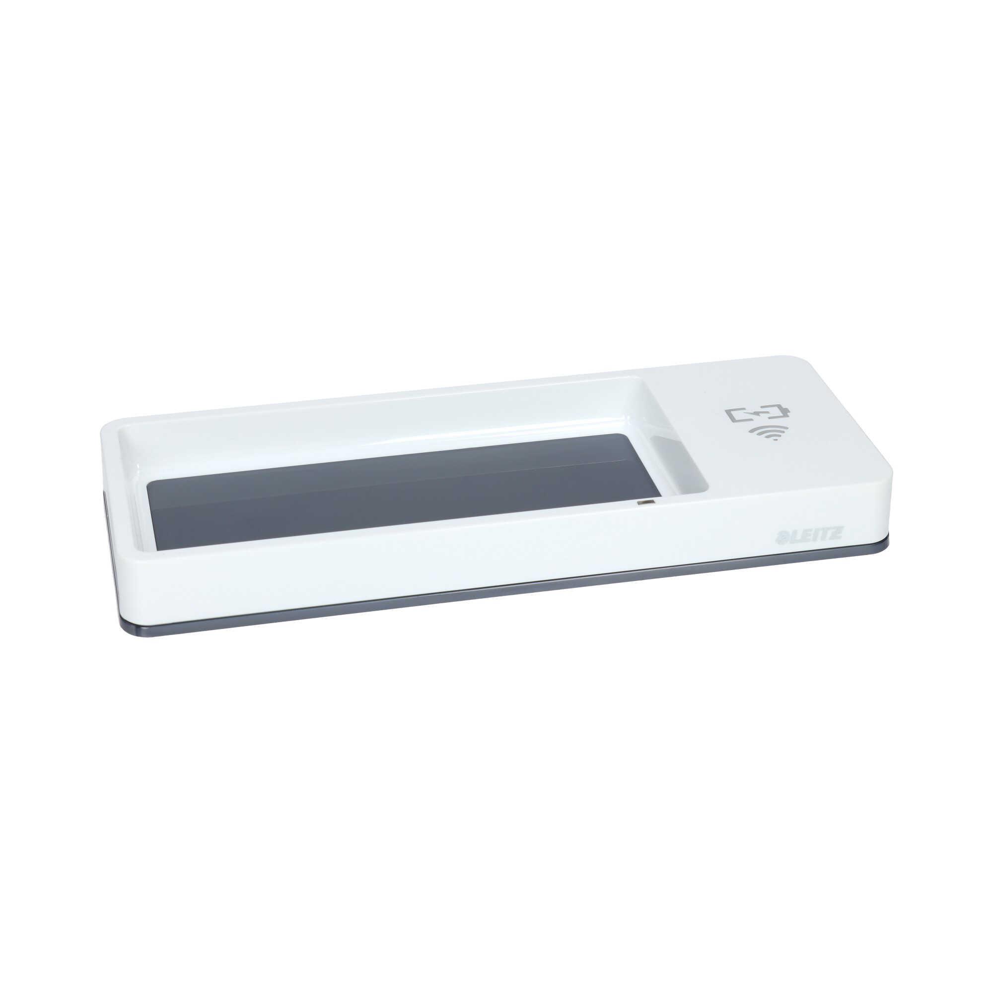 Piórnik na biurko biało-szary z ładowarką indukcyjną Wow Leitz