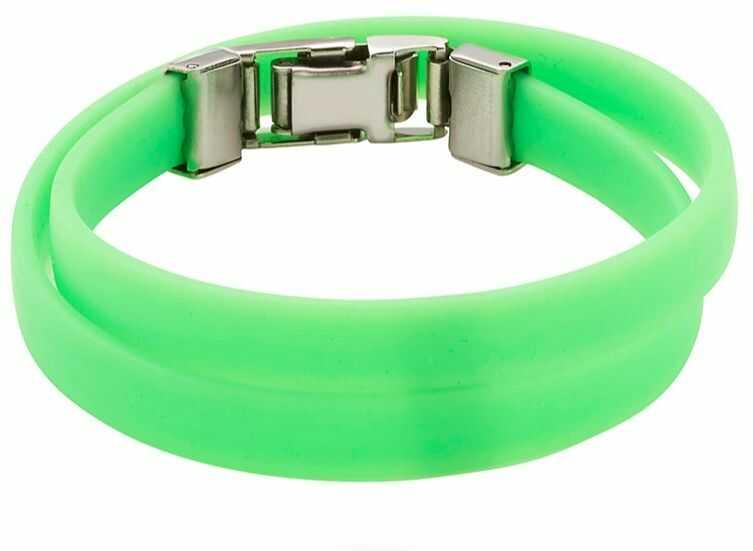 Bransoletka silikonowa podwójna 2624-1 zielona