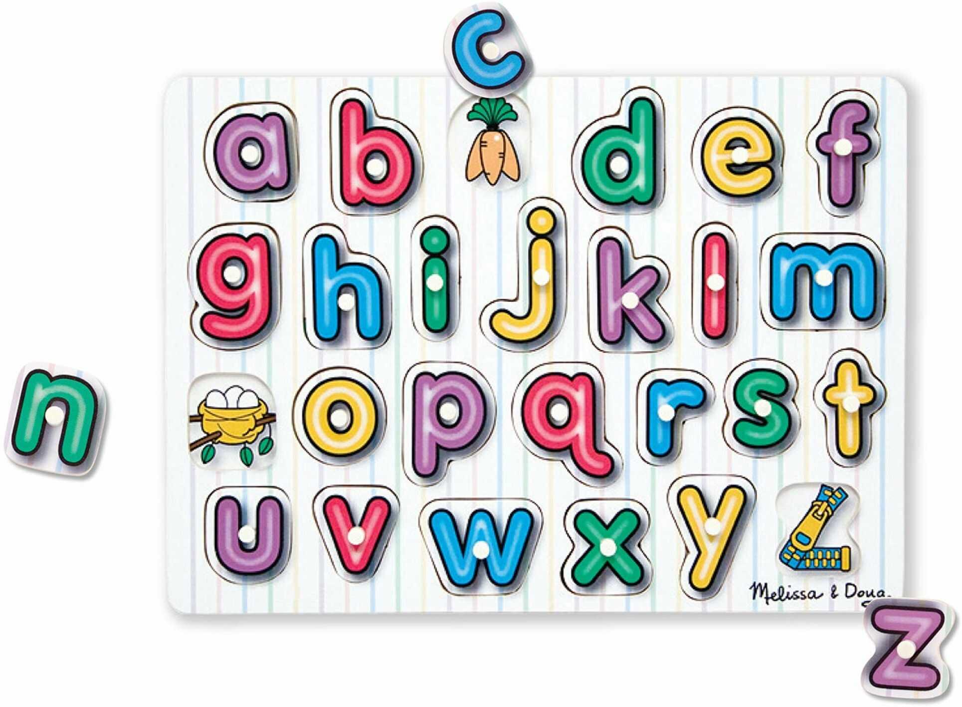 Melissa & Doug 13272 Doug See-Inside alfabet drewniany klamerka łamigłówka, wielokolorowa
