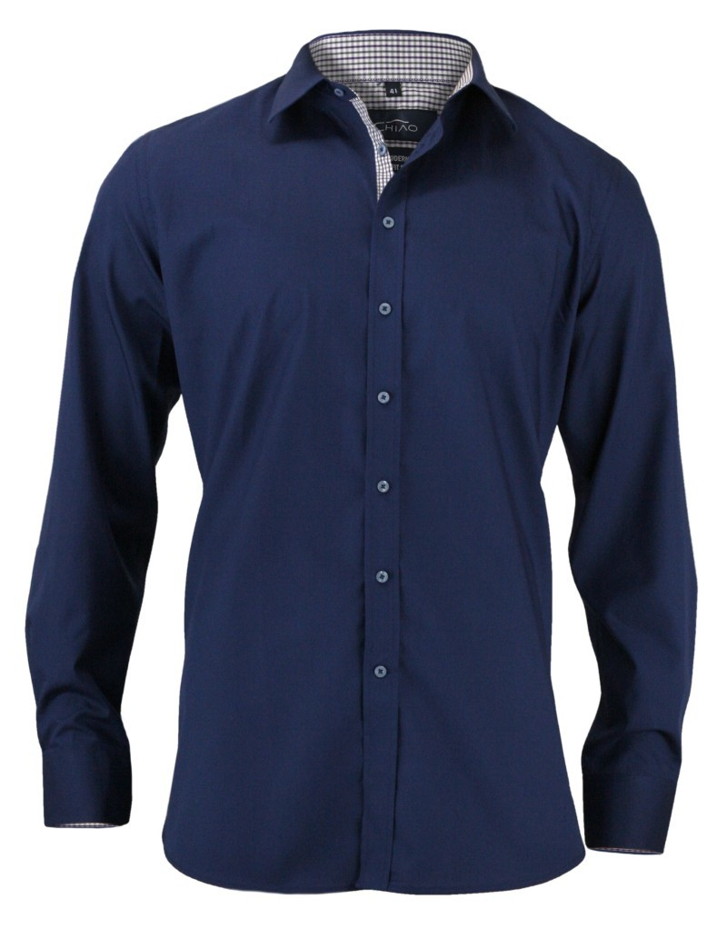 Taliowana Koszula Męska, 100% BAWEŁNA - Slim-Fit, Długi Rękaw, Kobaltowa KSDWCHIAO15M3A01