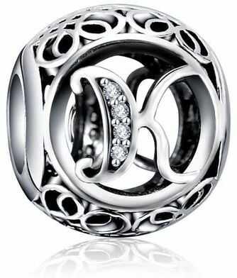 Rodowany srebrny charms do pandora litera literka K srebro 925 QS0862RH