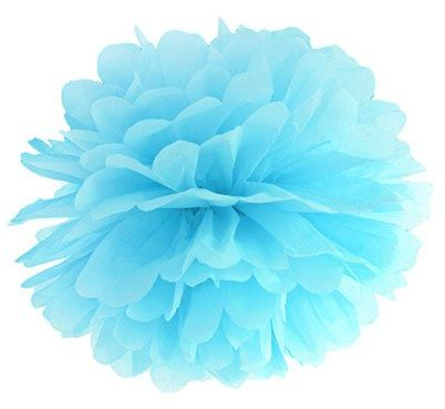 Pompon bibułowy 25cm błękitny 1szt pp25-011