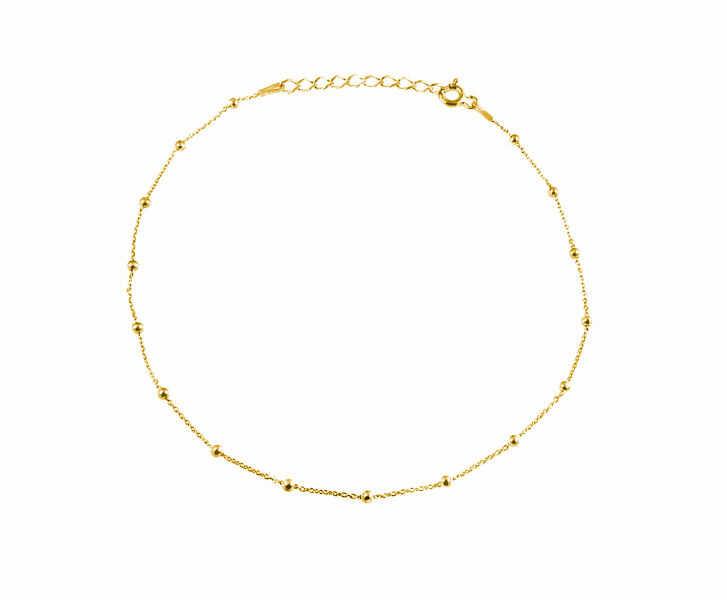 Elegancka pozłacana srebrna bransoletka na nogę choker gładkie kulki kuleczki srebro 925 FZ025P2_BNG