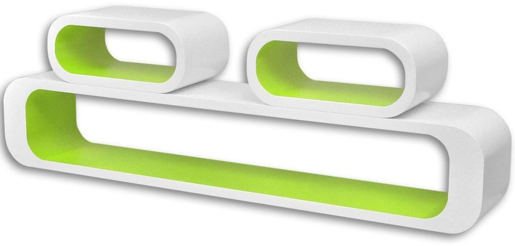 Zestaw modułowych półek ściennych Mins - biało-zielony