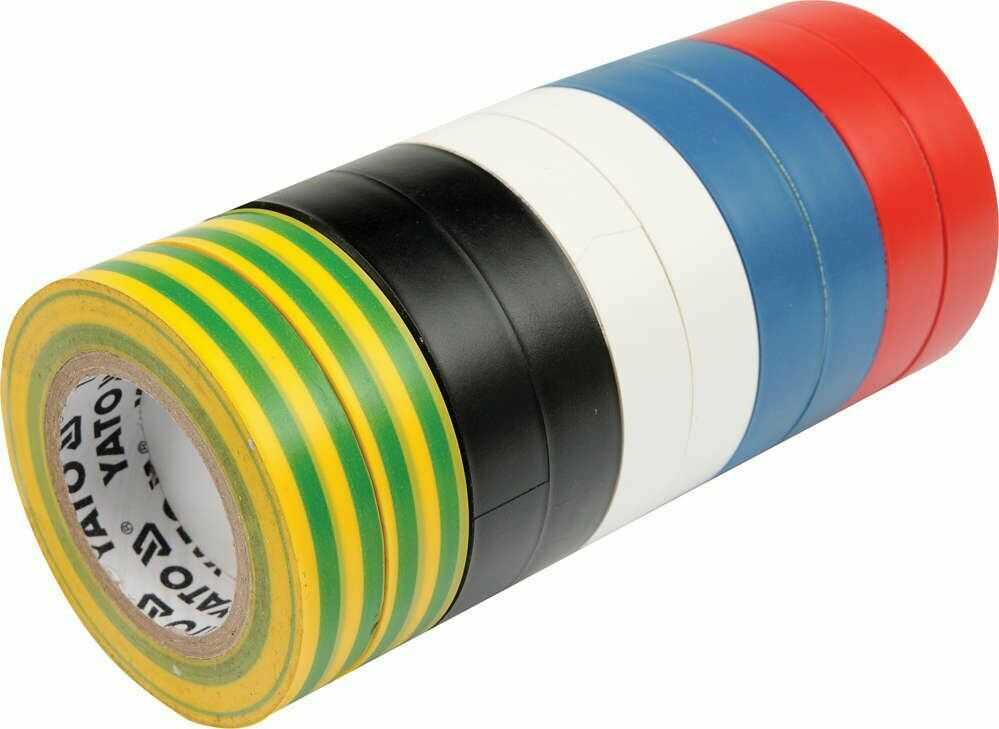 Taśmy izolacyjne 19mmx20mx0,13mm, mix kolor, kpl. 10 szt. Yato YT-8173 - ZYSKAJ RABAT 30 ZŁ