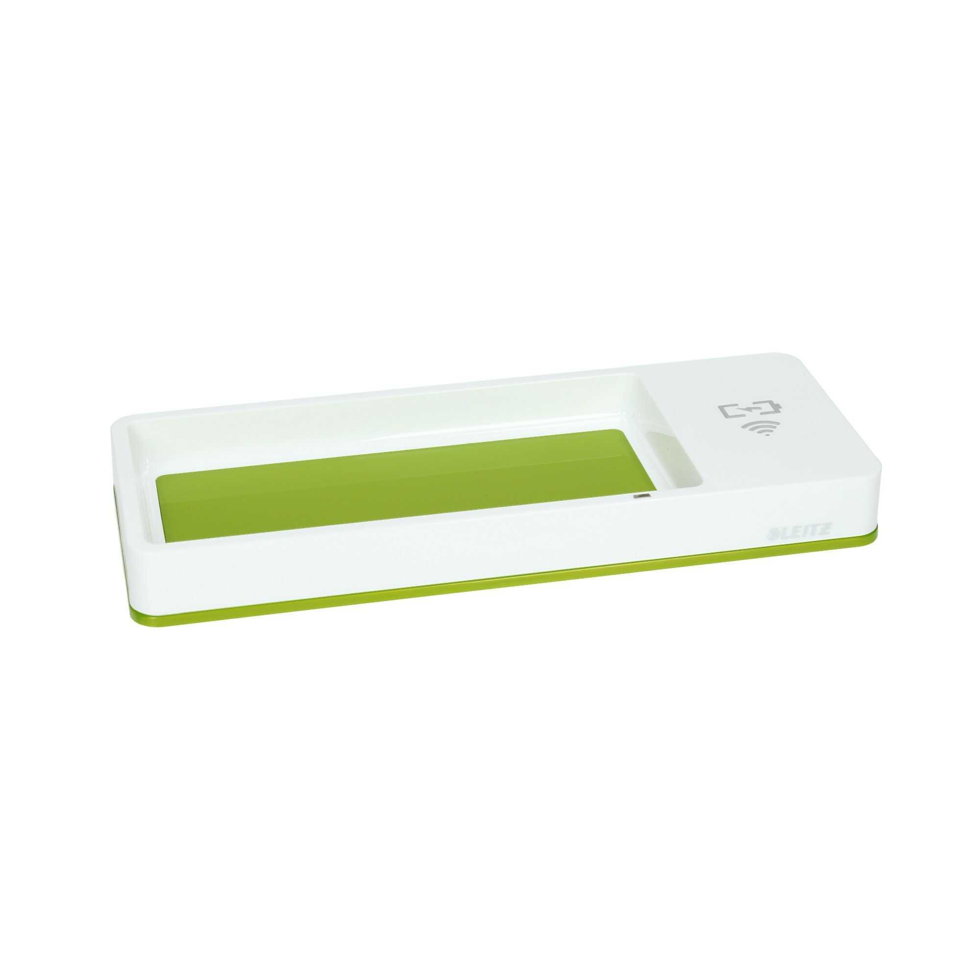 Piórnik na biurko biało-zielony z ładowarką indukcyjną Wow Leitz